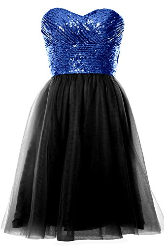 MACloth Strapless Cocktail Royal Wedding Sequin Formal Gown Short Blue Black Dress Women Party Ar5nS6qA