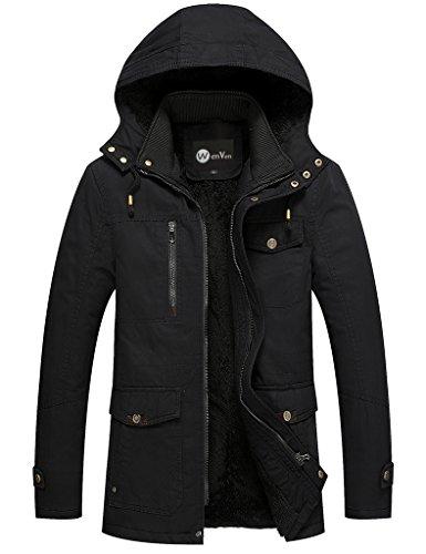 WenVen Men's Winter Windbreaker Thicken Jacket(Black,Medium)
