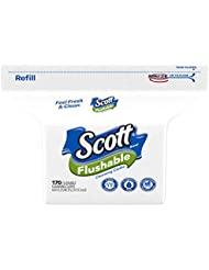 Scott Flushable Wipes, Fragrance-Free, Refill Bag with 170 Wet Wipes Total