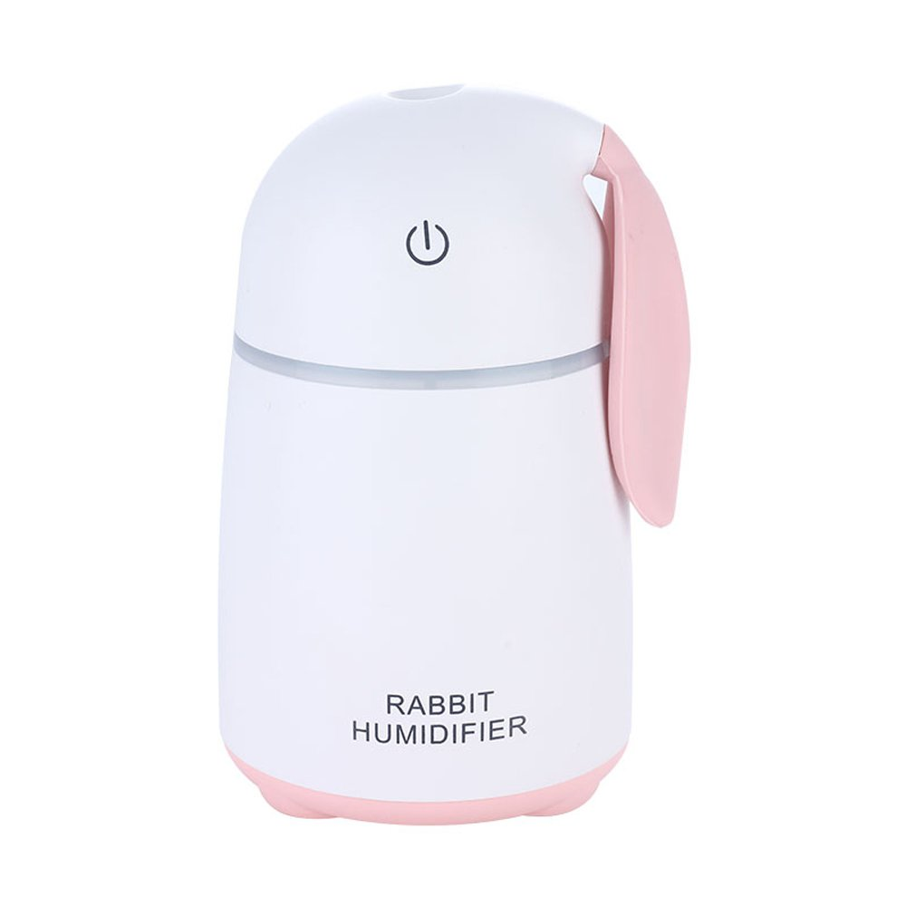 High Mist Output Warm Mist Humidifier, Vacio Rabbit Ultrasonic Air Humidifier with LED Light USB Aroma Diffuser for Home Car office (White)