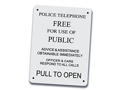 Police Telephone Box Sign  Vintage Style Police Public Call Box Telephone Door Quantity 1