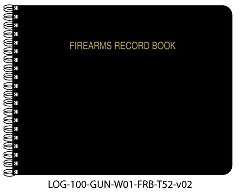 "BookFactory® Firearms Record Book / Gun Log Book - 100 Pages, Black TransLux Cover - Wire-O, 11"" x 8 1/2"" (LOG-100-GUN-W01-FRB-T52)"