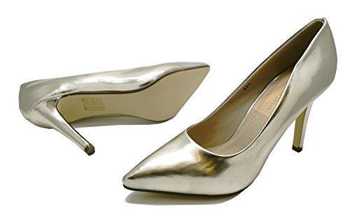 Damen Metallic Gold Stiletto High-Heels zum reinschlüpfen Hof Works Smart Schuhe Größen 3-8