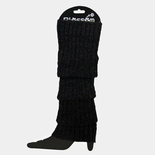 Price comparison product image Leg Warmers Glitter Sweater Knit Stretchy Legs Over Boots Slip on Slouchy Warm (Black)