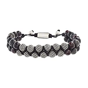 Steve Madden Mens Textured Design Labradorite and Garnet Beaded Double Stand Adjustable Bracelet