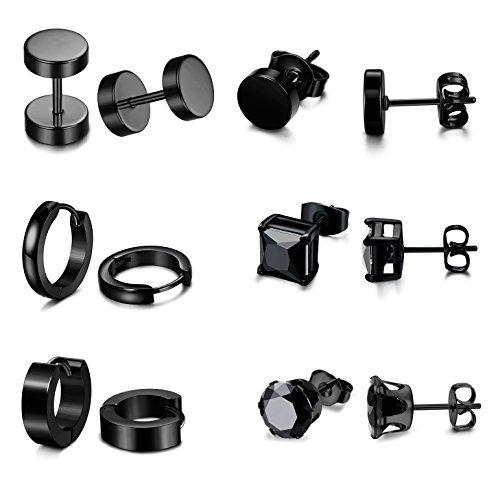 b52815b5b9 Jstyle 6 Pairs Stainless Steel CZ Stud Earrings for Women Mens Huggie Hoop  Earrings Ear Piercing Black