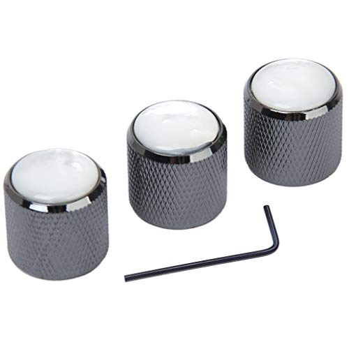 RuiLing 3-Pack Black Electric Guitar Dome Knob,Pearl Shell Top Metal Bass Knobs with Hexagon Wrench ()
