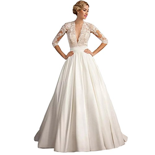 Ruffle V-neck Court Train - Ike Chimbandi A Line Satin Wedding Dresses 3/4 Long Sleeve V Neck Court Train Bridal Dress