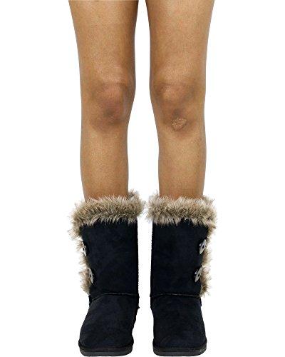Glist Womens Fur Cold Weather Boot Black