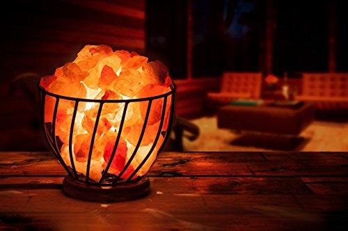 Himalayan Salt Lamp Metal Bowl with Himalayan Salt Chips on Wooden ...