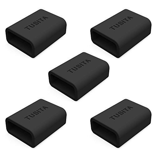 [5-PACK]TUSITA Silicon Fastener Ring for Fitbit Alta, Fitbit Flex, Fitbit Alta HR,Garmin Vivosmart, Garmin Vivofit 3, Misfit, Amiigo, Striiv, Jawbone UP2, UP3, UP Move Loop Keeper Locking - 3 Alta