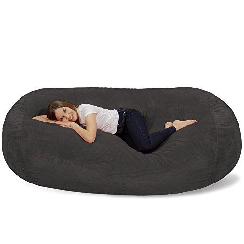 Chill Sack Memory Foam Bean Bag Lounger, 7.5-Feet, Grey Furry