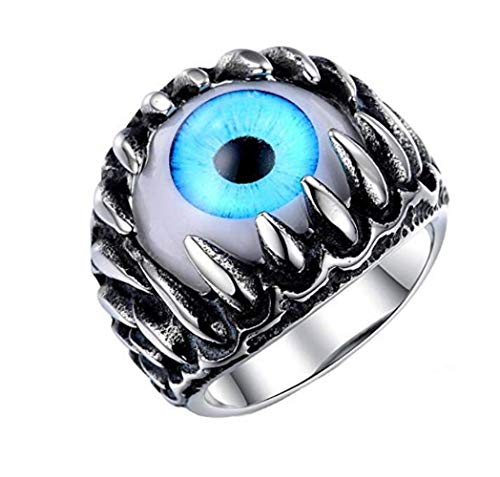 PAURO Men's Stainless Steel Dragon Claw Evil Devil Skull Eyeball Ring Gothic Biker Unique Blue Eyes Size 11 (Dragon Claw Ring)
