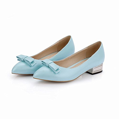 Carolbar WomenS Bows Elegance Sweet Chic Party Pointed-Toe Bridal Low Heel Dress Loafers Shoes Blue 8f00S336