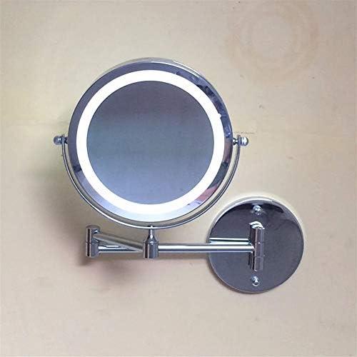 バスルームの鏡鏡が最大の壁は、調節可能な拡張可能なアームとLED照光ミラーをマウントしてください、3X拡大鏡簡単には4×AAA電池を搭載し、ホテルバニティ二スイベル表面のために飾るをインストールします(含まれていません)