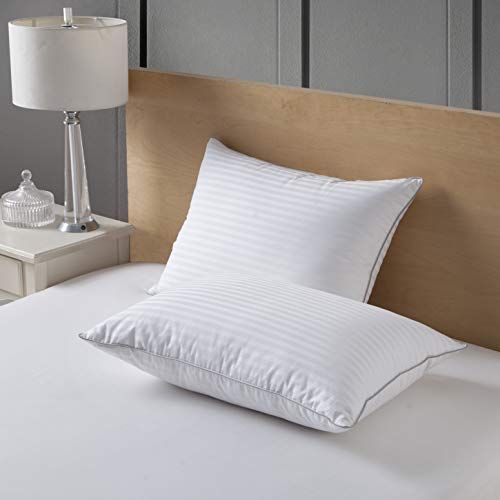 (SNOWMAN White Goose Down and Feather Bed Pillows - Meduim Firm,1000 Thread Count 1cm Stripe 100% Egyptian Cotton Cover,Hypoallergenic(Queen:2 Pillows))