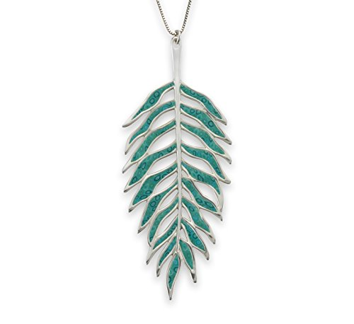 Necklace Silver Sterling Adina (Adina Plastelina Sterling Silver Palm Leaf Pendant Necklace with Turquoise Pattern, 16.5