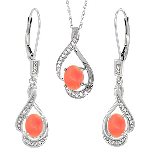 14K White Gold Diamond Natural Coral Lever Back Earrings & Necklace Set Oval 7x5mm, 18 inch long