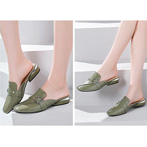 Sandales Doigt 1 talonné Forme Fermé de Chaussures EU36 Escarpins 1 Couleur Faible UK4 Plate Taille Pied Femmes CJC qxUY5n