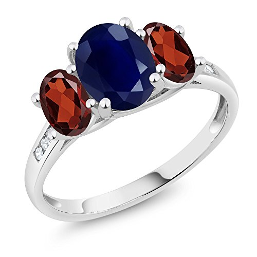 Sapphire Ring Red Gold (10K White Gold Diamond Accent Oval Blue Sapphire Red Garnet 3-Stone Ring 2.79 Ct, Available in size (5,6,7,8,9))