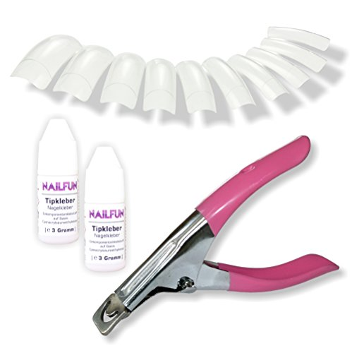 Nailfun 500 Classic SQUARE Premium Profi-Tips clear transparent in 10 verschiedenen Größen + 1x Tipcutter Metall (rosa / pink) + 2x Profi Tipkleber je 3 Gramm