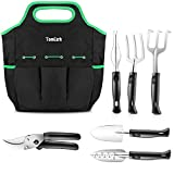 TomCare Garden Tools Set 7 Piece Gardening Tools Gardening kit Tool Sets Heavy Duty Pruning Shears Comfortable Non-Slip Handle Durable Storage Tote Bag - Garden Gifts Gardeners Men Women