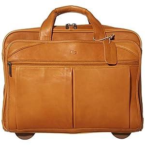 Solo New York Walker Leather Rolling Laptop Bag, Tan