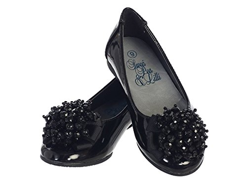Girls Flats with Pearl Bow (1, Black Patent) (Children Dress Shoes compare prices)