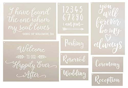 Wedding Collection Stencil Set - 9 Part by StudioR12   Reusable Mylar Template   Use to Paint Wood Signs - Pillows - DIY Love & Romance Projects (Best Paint To Use On Wood Signs)