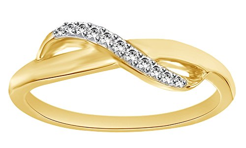White Natural Diamond Accent Infinity Midi Ring In 14k Solid Yellow Gold Ring Size - 7 14k Yg Mens Ring
