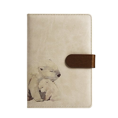 (ToiM A6 Cute Simple Binder Hand Books for Diary PU Leather Journal Writing Notebook Loose Notebook Handbook Notepad Business Hand Books Great Stationery (Polar Bear))