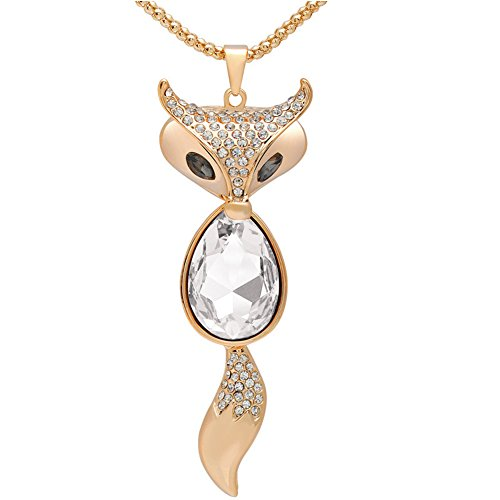 Lovely Fox Rose Gold Plated Fox Shape Austrian Crystal Pendant Necklace for Womens in Fashion - N Co Uk Tiffany