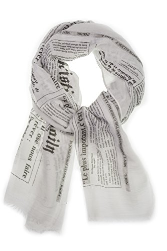 Women Fashion Scarves  Lightweight Scarf Pashmina Type Oversized With Newspaper Print  Color Beige