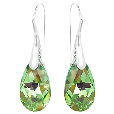 Light Green Teardrop Earrings for Women Made with Swarovski Crystals and Sterling Silver 925 g9JBGYF