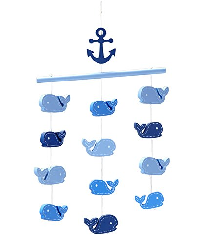Little Love by NoJo Ceiling Mobile, Navy Whale (Nautical Mobile For Crib)