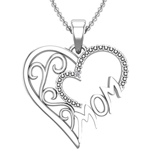 Rhodium Mom Heart Charm - Belinda Jewelz 925 Solid Real Sterling Silver Mom Mothers Day Heart Swirl Charm Love Rhodium Plate Gift Present Classic Womens Fine Jewelry Chain Necklace Pendant, White Diamond, 18-inch