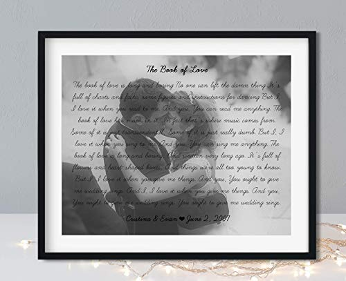Song Lyrics Wall Decor - Black Frame Available - Wedding Song Lyrics Personalized - Your Photo