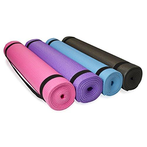 diMio PVC Yogamatte Pilates Fitnessmatte 185x60cm | Matte in 4 Farben für Yoga Fitness und mehr (Lila)