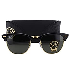 Ray-Ban RB3016 Clubmaster Sunglasses Black Gold w/Gray Green Lens W0365 RB 3016