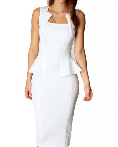 WIIPU Womens Pencil Dress Square Neck Detail Sleeveless Knee Length Dress(J2-21)