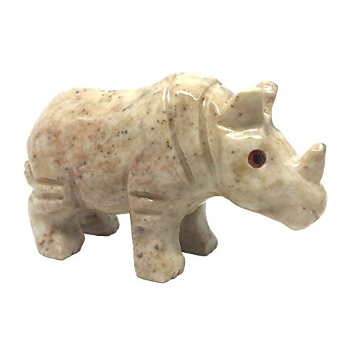 (Nelson Creations, LLC Rhinoceros Rhino Natural Soapstone Hand-Carved Animal Charm Totem Stone Carving Figurine, 3 Inch)