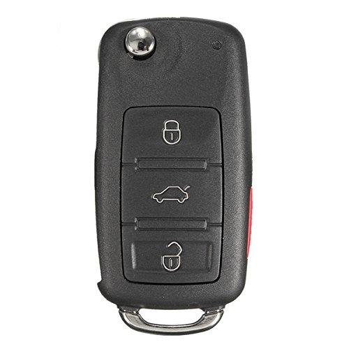 YONGYAO Coche 4 Botones Remotos Clave Negro Shell Caso Flip Hoja Sin Cortar para VW Touareg 2004-2011