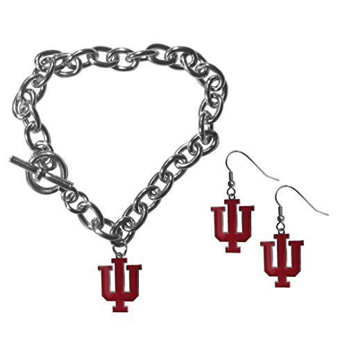 Siskiyou NCAA Indiana Hoosiers Chain Bracelet & Dangle Earring Set
