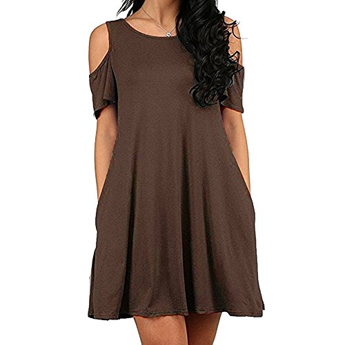 Manches Coton Dnude paule Youthny Brown paules Robe Courtes Poche Dnudes qT57U8
