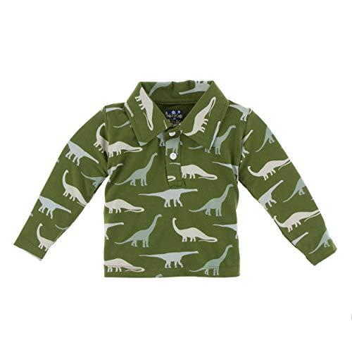 KICKEE Print Long Sleeve Performance Jersey Polo (XS-5/6, Moss Sauropods)