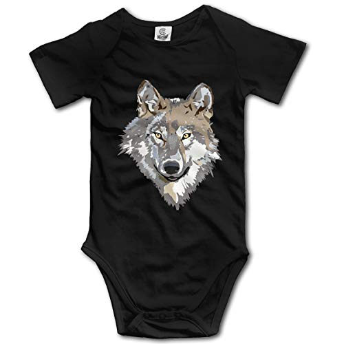 Unisex Baby Wolf Face Clipart Short Sleeve Romper Jumpsuit, Comfortable Cotton Bodysuit Romper Jumpsuit Black (Face Clipart)