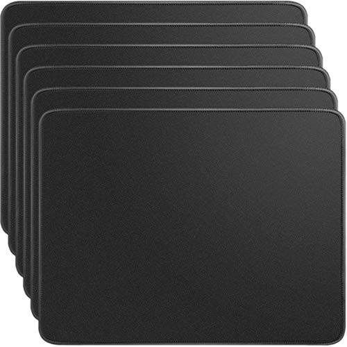 Ktrio 6 Pack Mouse Pad with Stitched Edges Mousepads Bulk with Lycra Cloth, Non-Slip Rubber Base, Waterproof Coating Mouse Pads for Computers, Laptop, Office & Home, 11x8.5 in, 3mm, Black