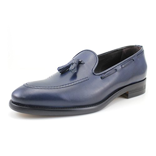 Giorgio Rea Italian handmade mens shoes tassel loafers blue mocassins genuine leather (EUR 40, Blue) (Handmade Shoes Italian Leather Loafer)