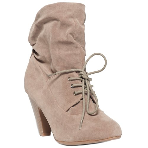 Qupid ROCKIN-03 Women's Slouchy Ankle Boot - Taupe Suede (6.5, Taupe Suede)