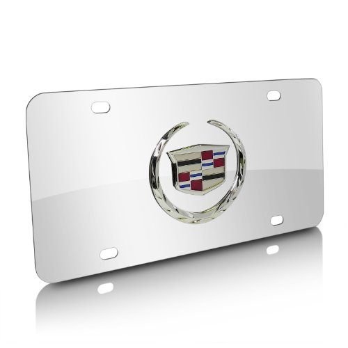 (Cadillac 3D Logo Chrome Stainless Steel License Plate)